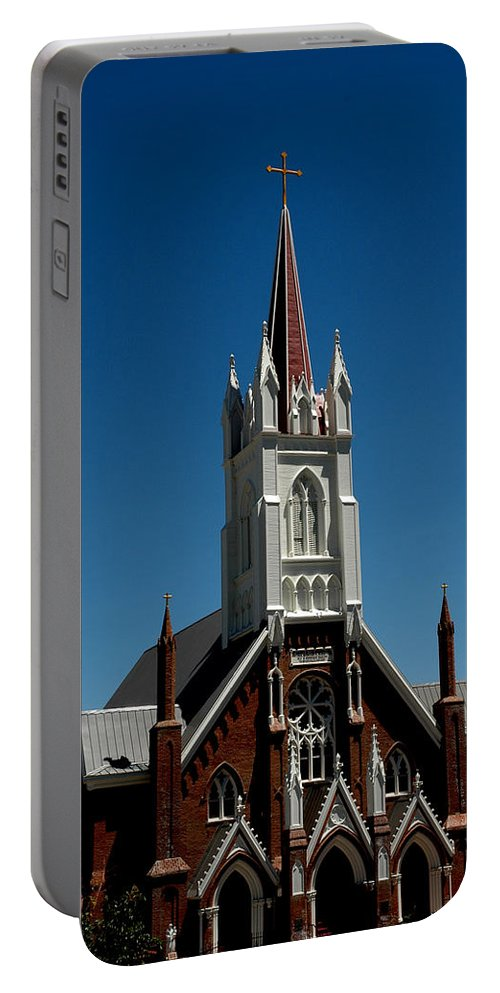 Usa Portable Battery Charger featuring the photograph Virginia City Church St Mary by LeeAnn McLaneGoetz McLaneGoetzStudioLLCcom