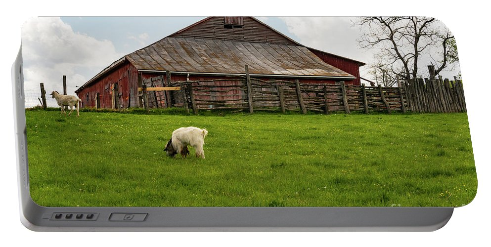 New Castle Virginia Barn Barns Structure Structures Building Buildings Architecture Farmyard Farmyards Animal Animals Creature Creatures Goat Goats Landscape Landscapes Portable Battery Charger featuring the photograph Virginia Farmyard by Bob Phillips