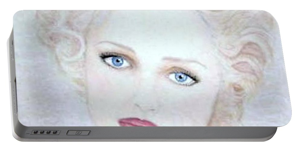 Face Portable Battery Charger featuring the drawing Virginia by Scarlett Royal