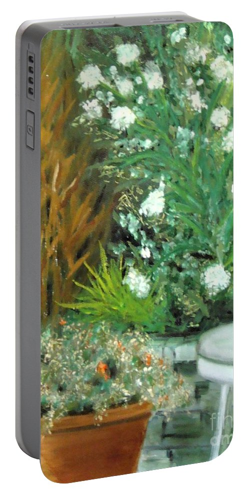 Plein Air Portable Battery Charger featuring the painting Virginia's Garden by Laurie Morgan