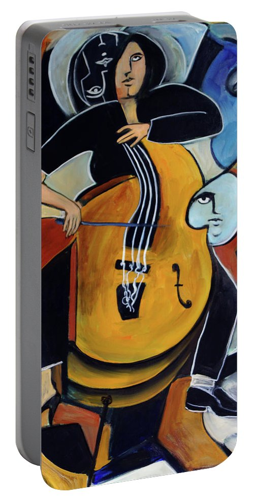 Cellist Portable Battery Charger featuring the painting Virtuoso by Valerie Vescovi