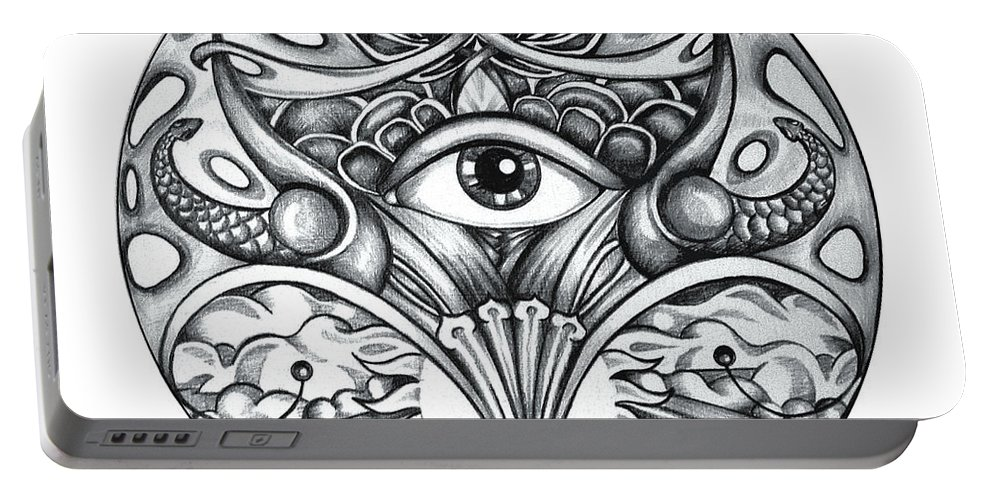 Eye Portable Battery Charger featuring the drawing Vision by Shadia Derbyshire