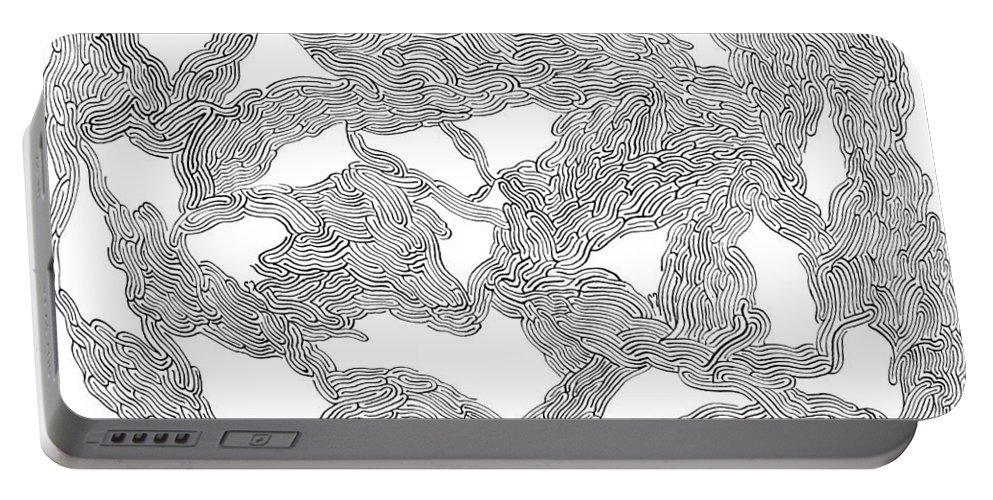 Mazes Portable Battery Charger featuring the drawing Visions by Steven Natanson