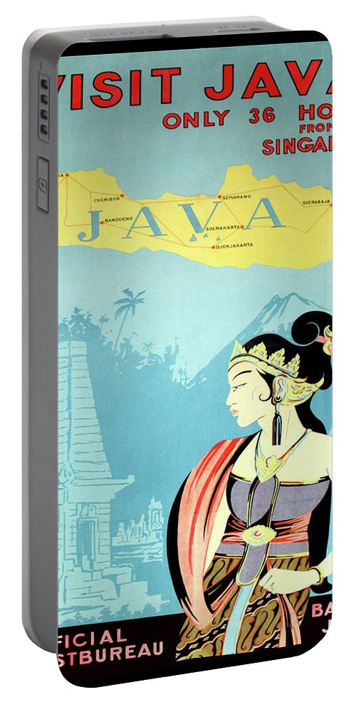 Visit Portable Battery Charger featuring the digital art Visit Java, Traditional Woman by Long Shot