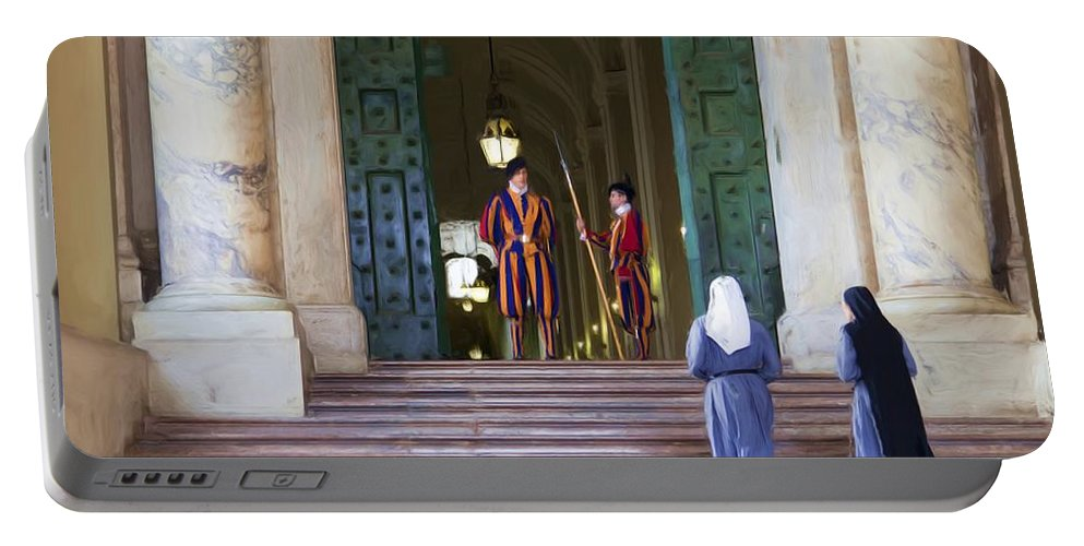 Rome Portable Battery Charger featuring the painting Visitors by Janet Fikar