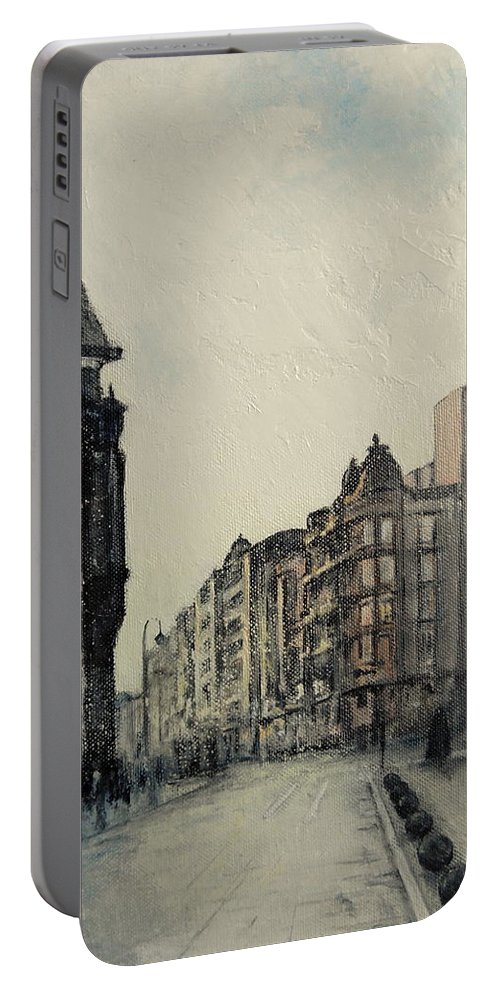 Leon Portable Battery Charger featuring the painting Vista desde calle ancha-Leon by Tomas Castano