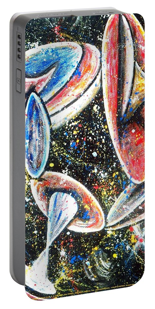Vistas Portable Battery Charger featuring the painting Vistas Of Life Force #64 by Mbonu Emerem