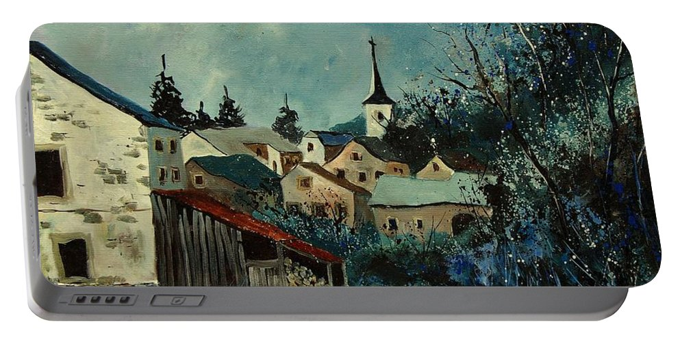 Village Portable Battery Charger featuring the painting Vivy Bouillon by Pol Ledent