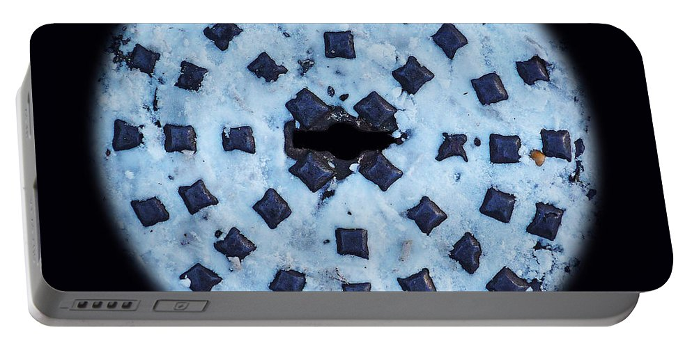 Manhole Portable Battery Charger featuring the photograph Voice In The Snow by Charles Stuart