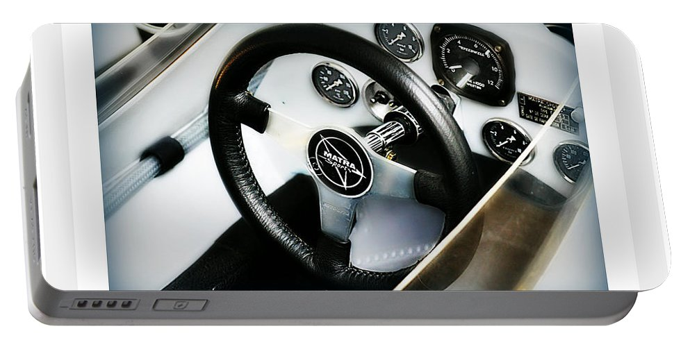 Steering Wheel Portable Battery Charger featuring the photograph Volant Sportif by Romance Cartes Postales et Photographie