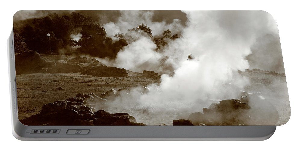 Azores Portable Battery Charger featuring the photograph Volcanic Steam by Gaspar Avila