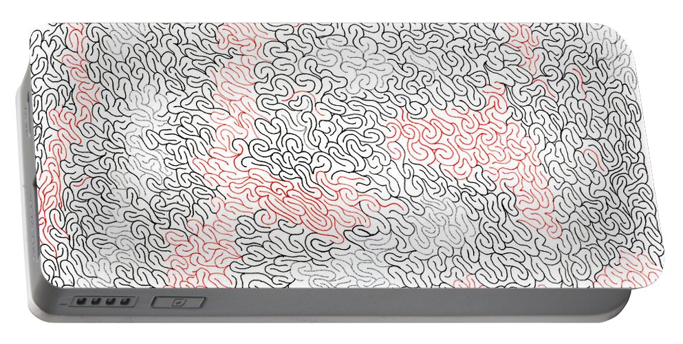 Mazes Portable Battery Charger featuring the drawing Volcanic by Steven Natanson