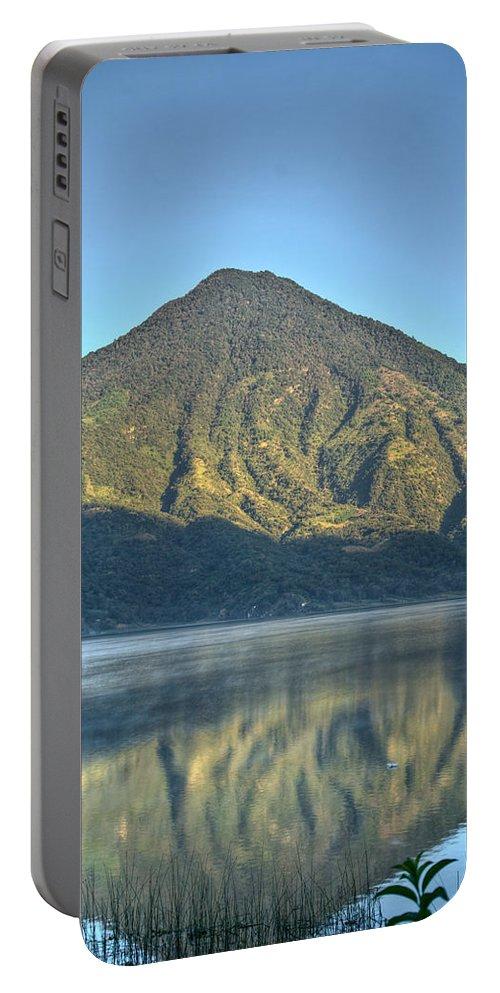 Volcano Portable Battery Charger featuring the photograph Volcano And Reflection Lake Atitlan Guatemala 3 by Douglas Barnett