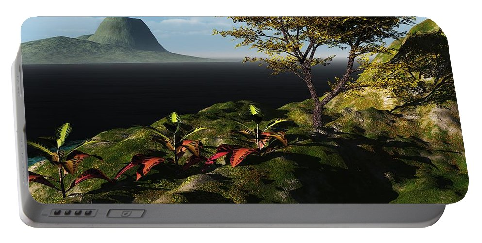 3d Render 3 Dimensional Art Portable Battery Charger featuring the digital art Volcano View by David Lane