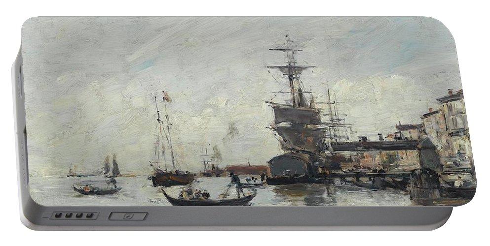 Eugène Boudin 1824 - 1898 Vue De Venise Portable Battery Charger featuring the digital art Vue De Venise by Mark Carlson