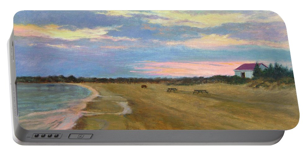 Oil Landscape Portable Battery Charger featuring the painting Wades Beach Sundown Study II by Phyllis Tarlow