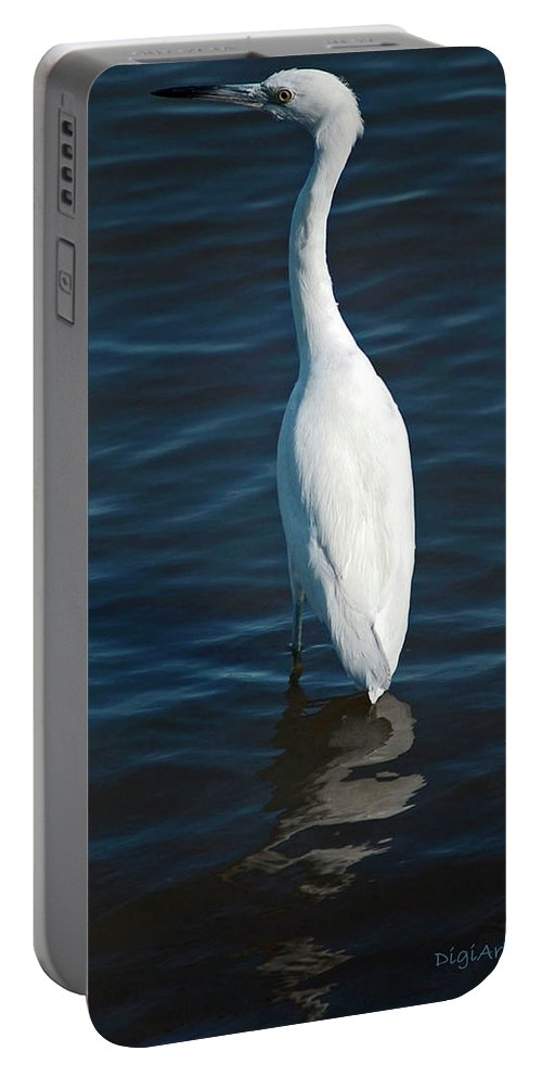 Bird Portable Battery Charger featuring the digital art Wading Reflections by DigiArt Diaries by Vicky B Fuller
