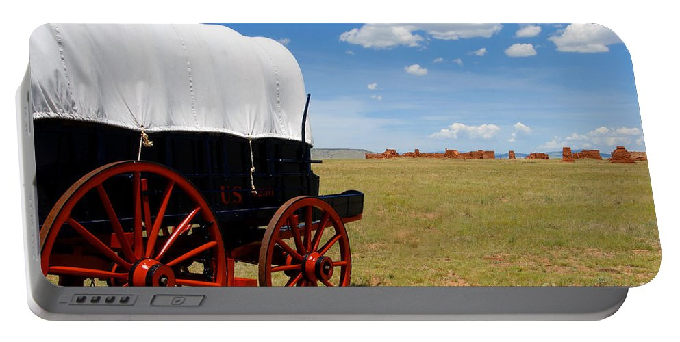 Fort Union New Mexico Portable Battery Charger featuring the photograph Wagon At Old Fort Union by David Lee Thompson