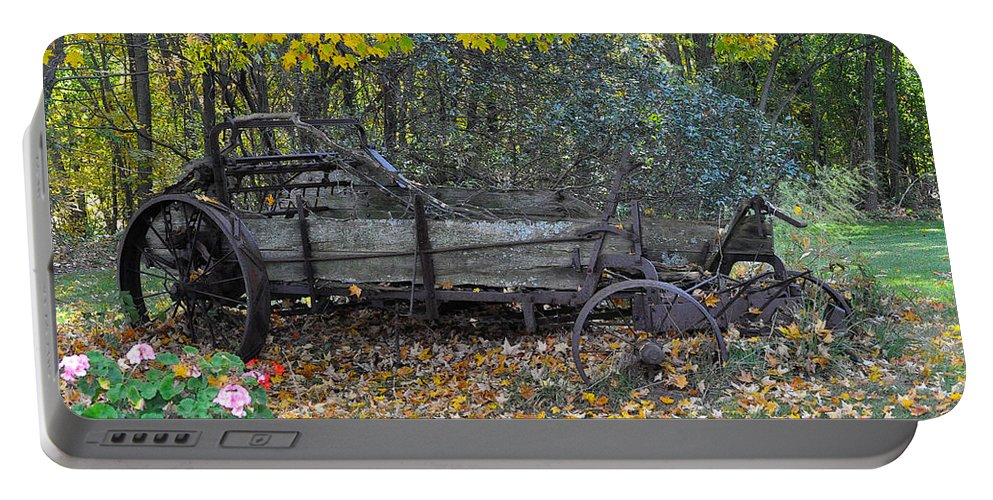 Door County Portable Battery Charger featuring the photograph Wagon by Tim Nyberg