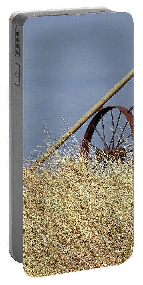 Wagon Wheel Portable Battery Charger featuring the photograph Wagon Wheel Fence by Gale Cochran-Smith