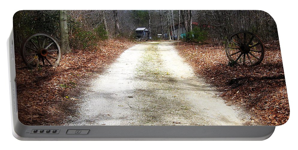 2d Portable Battery Charger featuring the photograph Wagon Wheel Lane by Brian Wallace