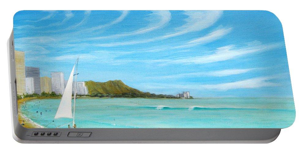 Waikiki Portable Battery Charger featuring the painting Waikiki by Jerome Stumphauzer