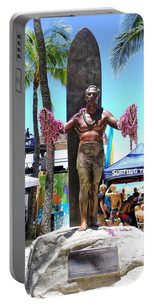 Statues Portable Battery Charger featuring the photograph Waikiki Statue - Duke Kahanamoku by Mary Deal