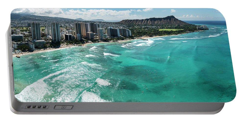 Waikiki Portable Battery Charger featuring the photograph Waikiki To Diamond Head by Sean Davey