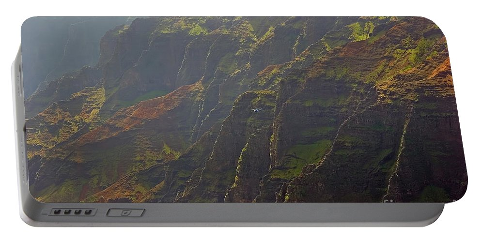 Landscape Portable Battery Charger featuring the photograph Waimea Canyon On A Misty Day In Kauai by Louise Heusinkveld