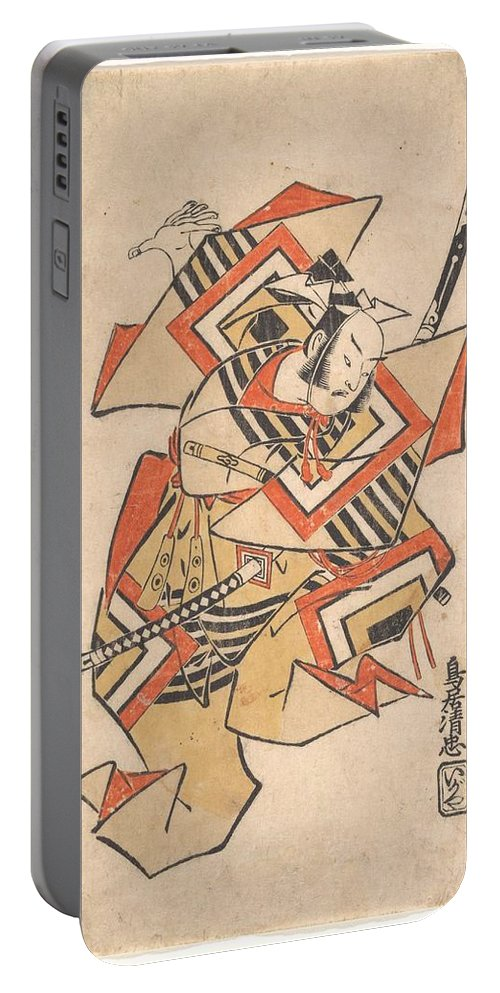 Art Portable Battery Charger featuring the painting Wait A Moment Torii Kiyotada Japanese Fl Ca 1720 50 by Artistic Panda