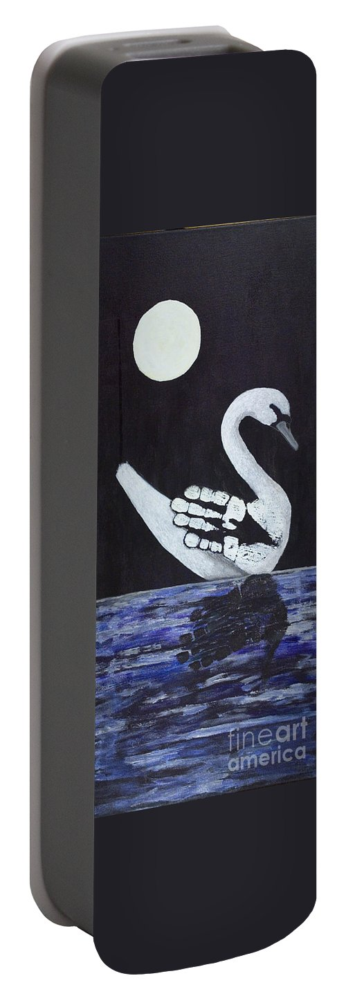 Prints Of Freedom Portable Battery Charger featuring the painting Wait A Second Swansong by Michelle Finnegan