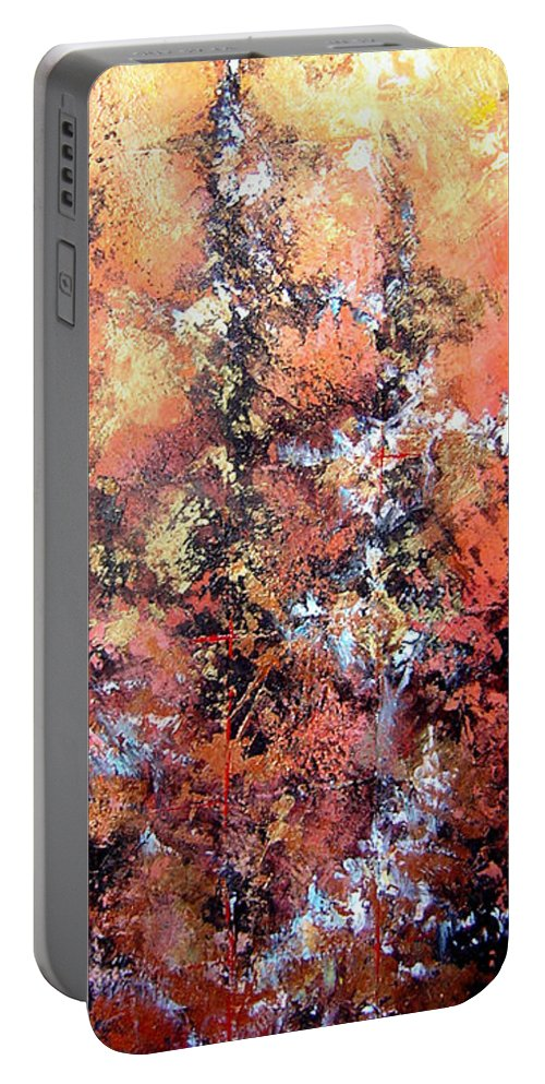 Tile Portable Battery Charger featuring the painting Wait For Sleep by Shadia Derbyshire