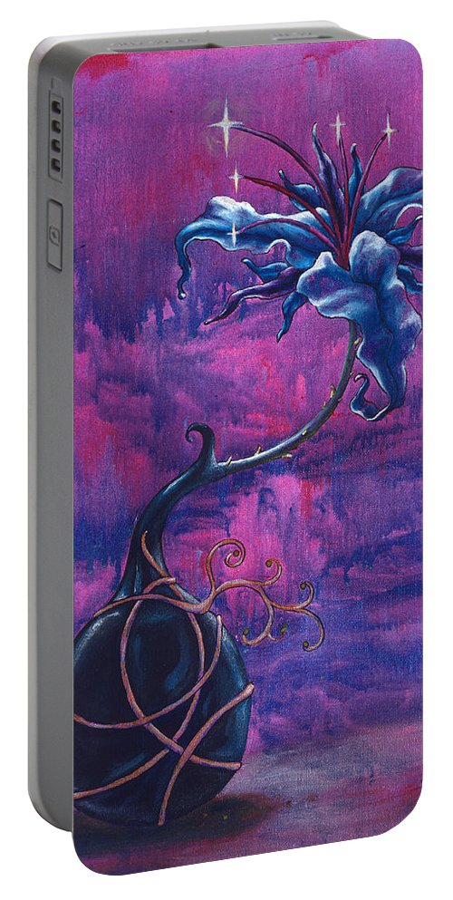 Lily Portable Battery Charger featuring the painting Waiting Flower by Jennifer McDuffie