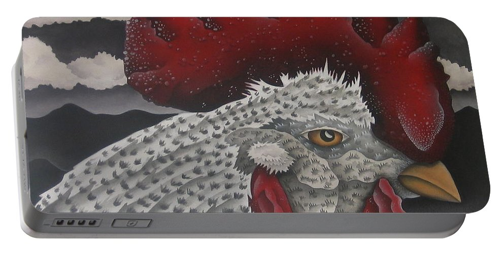 Rooster Portable Battery Charger featuring the painting Waiting For Daybreak by Jeniffer Stapher-Thomas