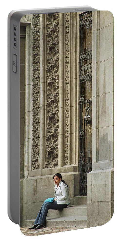 Church Portable Battery Charger featuring the photograph Waiting For God by Kathy McClure