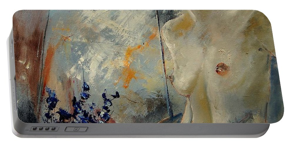 Girl Portable Battery Charger featuring the painting Waiting For Her Lover by Pol Ledent