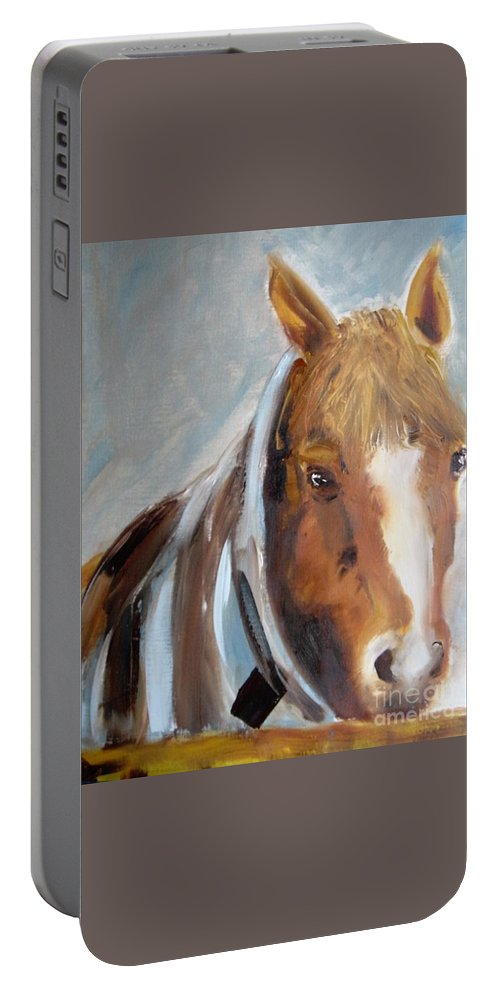 Horse Portable Battery Charger featuring the painting Waiting For His Master by Angela Cartner