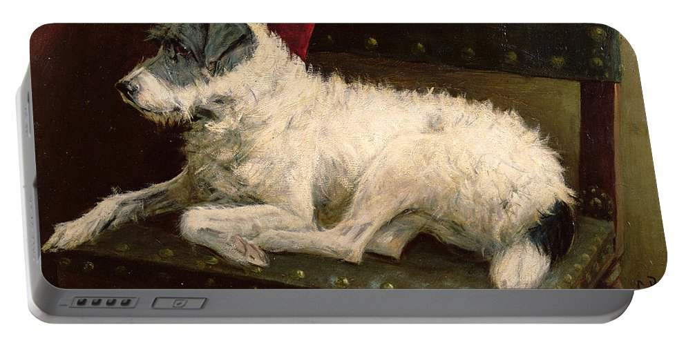 Dog Portable Battery Charger featuring the painting Waiting For Master by George Paice