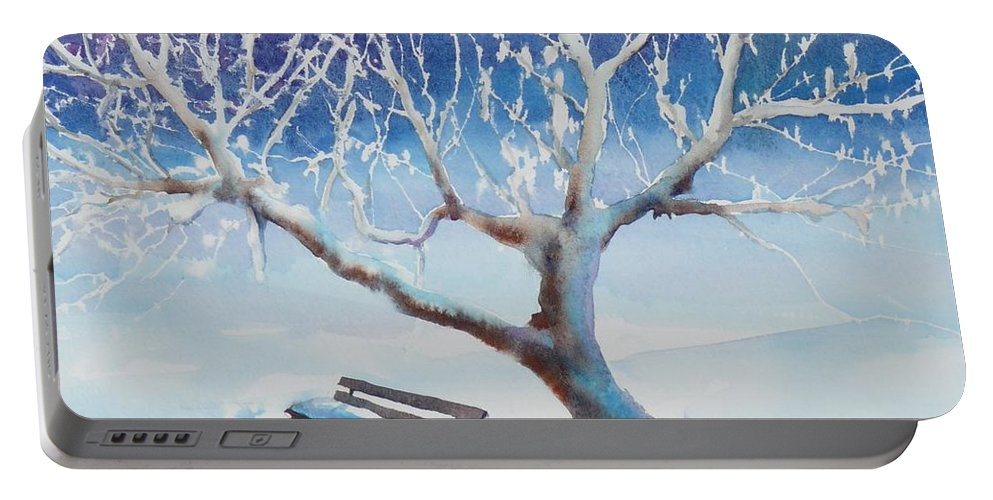 Snow Portable Battery Charger featuring the painting Waiting For Spring by Ruth Kamenev