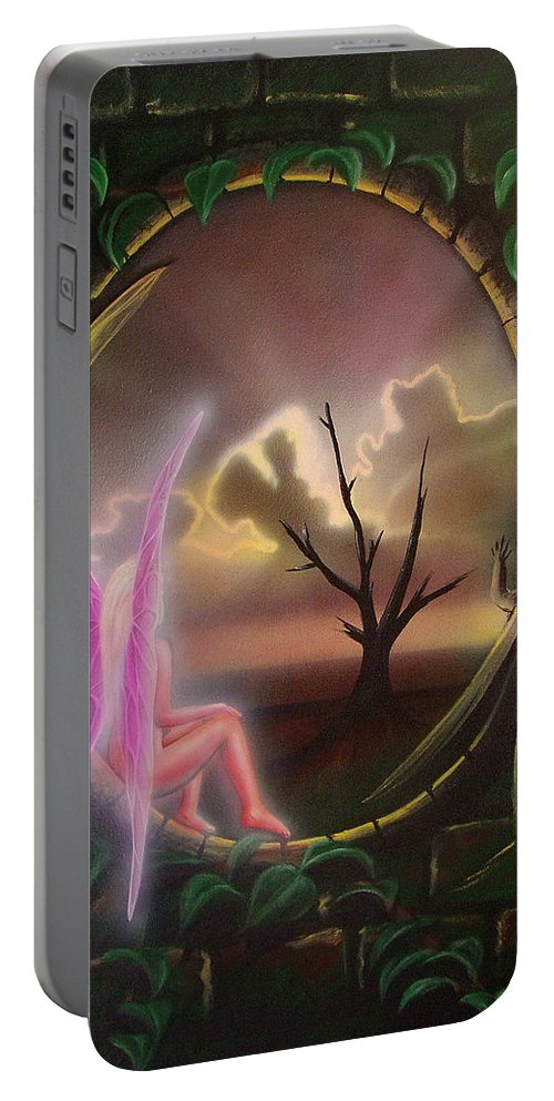 Fairy Portable Battery Charger featuring the painting Waiting For Spring by Shaun McNicholas