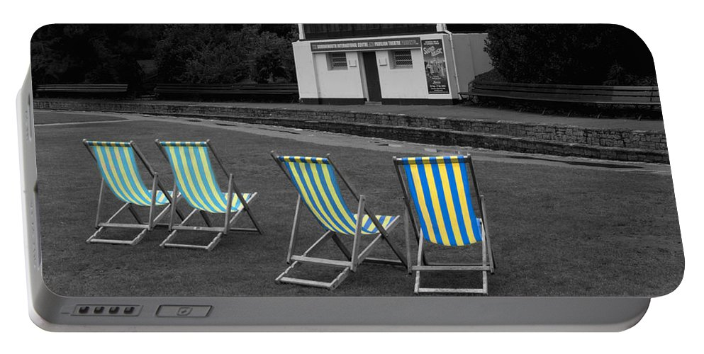 Deckchair Portable Battery Charger featuring the photograph Waiting For The Band by Chris Day