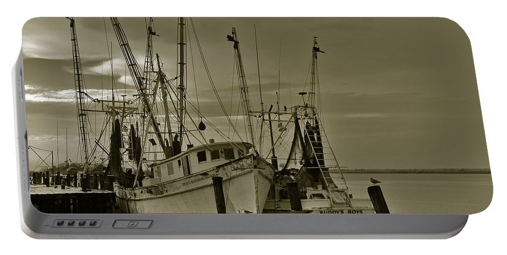 Shrimp Boats Portable Battery Charger featuring the photograph Waiting For The Big Catch by Susanne Van Hulst