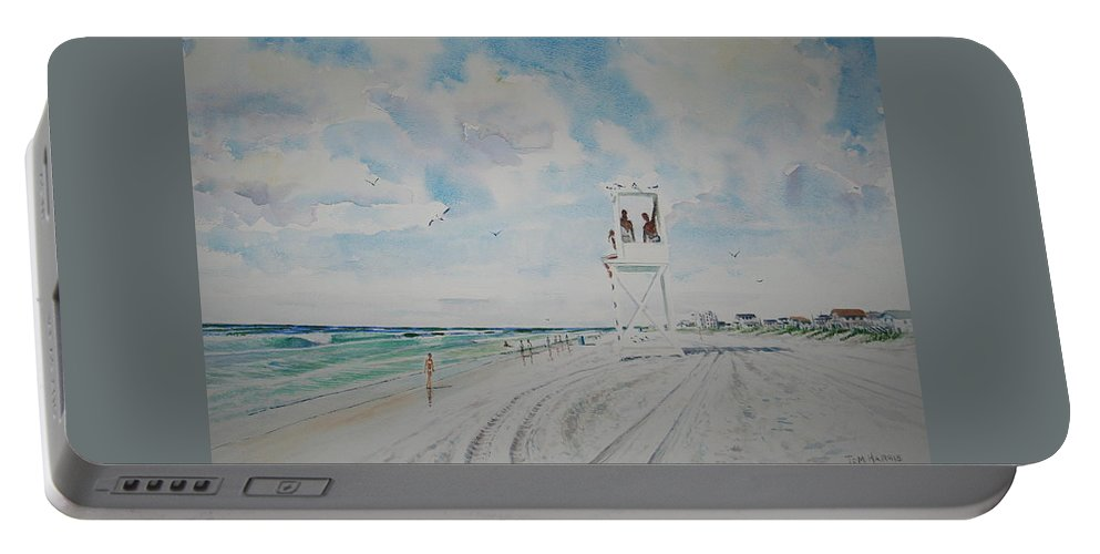 Ocean Portable Battery Charger featuring the painting Waiting For The Lifeguard by Tom Harris