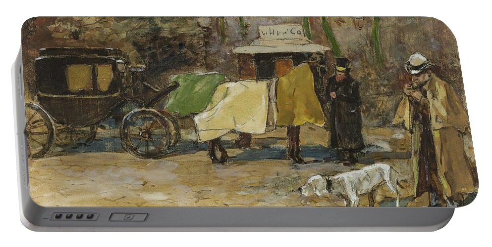 Man Portable Battery Charger featuring the painting Waiting In A Car Park Willem De Zwart 1872  1931 by Artistic Panda