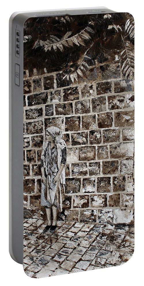 Woman Portable Battery Charger featuring the painting Waiting by IZAK Fineart