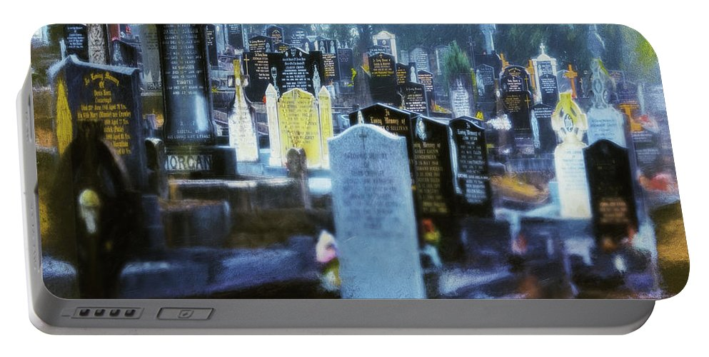 Cemetery Portable Battery Charger featuring the photograph Waiting by Jean OKeeffe Macro Abundance Art