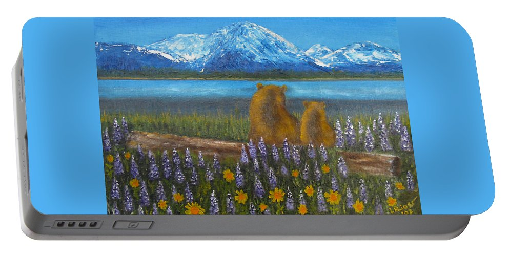 Landscape Portable Battery Charger featuring the painting Waiting, 12x16, Oil, '07 by Lac Buffamonti
