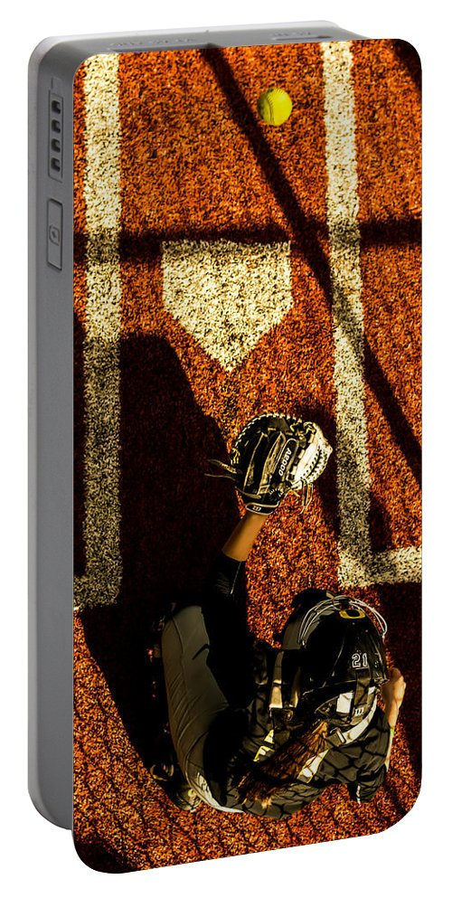 Softball Portable Battery Charger featuring the photograph Waiting On An Arrival by Laddie Halupa
