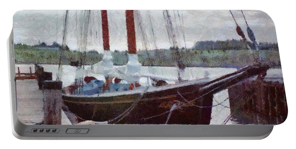 Canadian Portable Battery Charger featuring the painting Waiting To Sail by Jeffrey Kolker