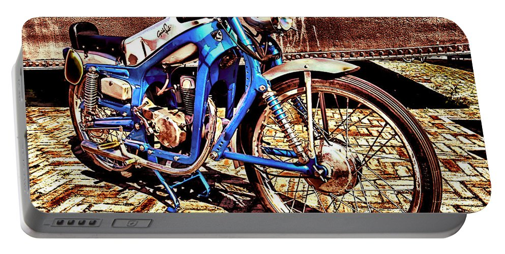 Motorcycles - Bikes - Motor - Vehicles - Wheels - Motorcyclist - Road - Trip - Decoration - Iron - Steel - Machinne Portable Battery Charger featuring the digital art Waiting by Lyriel Lyra